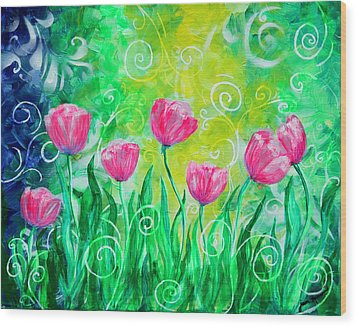 Dancing Tulips Wood Print