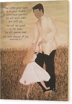 Dancing With Daddy Wood Print by Michelle Bentham