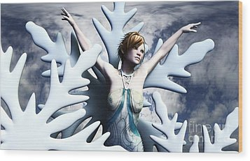 Wood Print featuring the digital art Dancing With Snowflakes by Sandra Bauser Digital Art