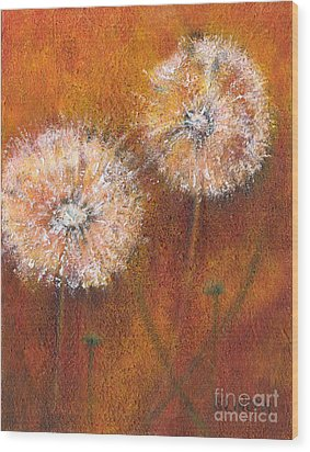 Wood Print featuring the painting Dandelion Clocks by Sandy Linden