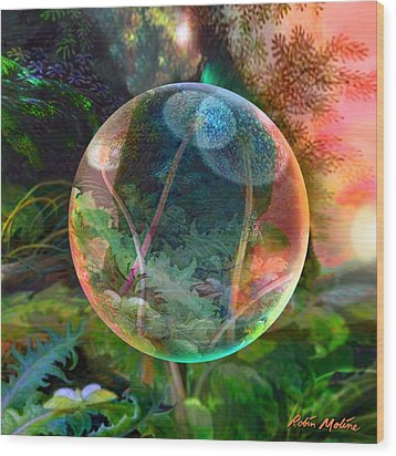 Wood Print featuring the painting Dandelion Wine by Robin Moline