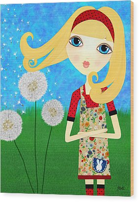 Dandelion Wishes Wood Print by Laura Bell