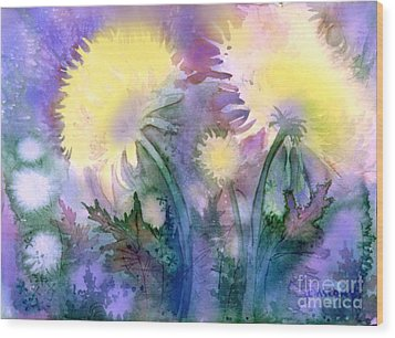 Wood Print featuring the painting Dandelions by Teresa Ascone