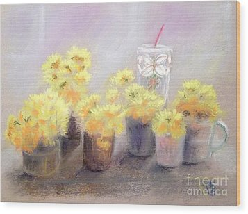 Dandelions Wood Print by Yoshiko Mishina