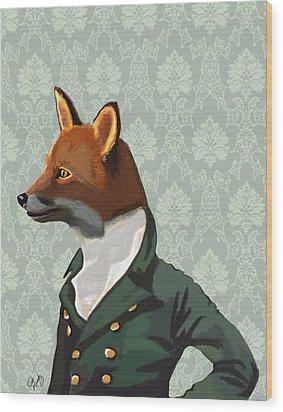 Dandy Fox Portrait Wood Print by Kelly McLaughlan