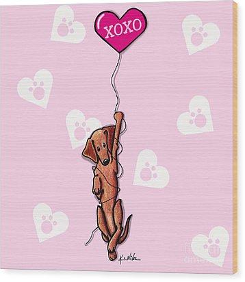 Dangling Doxie Sweetie Wood Print by Kim Niles