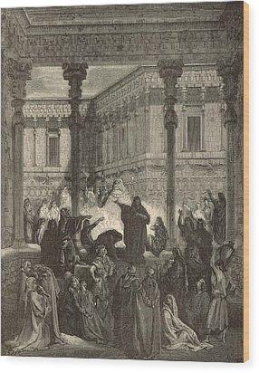 Daniel Confounding The Priests Of Bel Wood Print by Antique Engravings