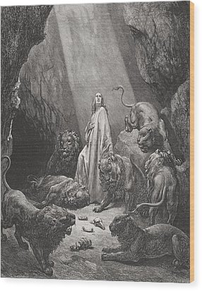 Daniel In The Den Of Lions Wood Print by Gustave Dore