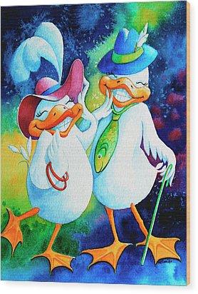 Dapper Duckies Wood Print by Hanne Lore Koehler
