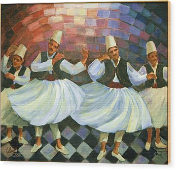 Wood Print featuring the painting Daraweesh Dancing by Laila Awad Jamaleldin