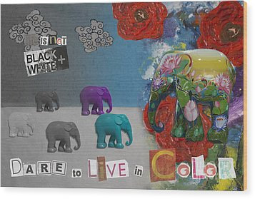 Dare To Live In Color Wood Print by Nola Lee Kelsey