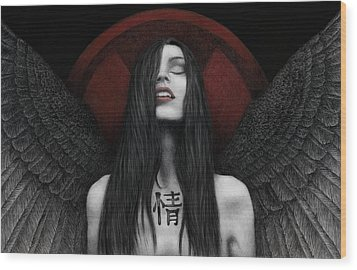 Wood Print featuring the painting Dark Angel by Pat Erickson