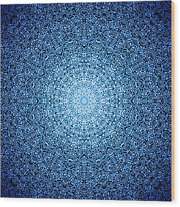 Dark Blue Quasicrystal Wood Print by Dan Gries