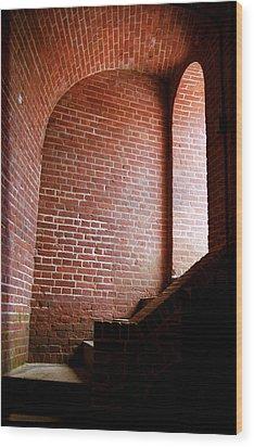 Dark Brick Passageway Wood Print by Frank Romeo