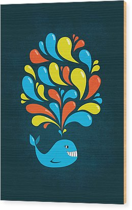 Dark Colorful Splash Happy Cartoon Whale Wood Print