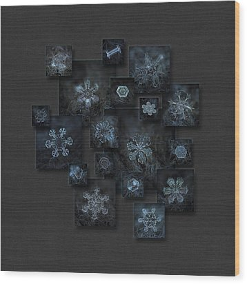 Wood Print featuring the photograph Snowflake Collage - Dark Crystals 2012-2014 by Alexey Kljatov