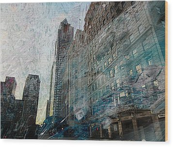 Dark Downtown Streetscene With Confetti And Wind Wood Print by John Fish