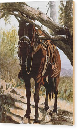 Dark Horse Wood Print