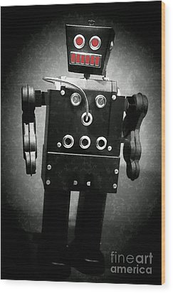 Dark Metal Robot Oil Wood Print by Edward Fielding