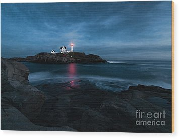 Dark Night At The Nubble Wood Print