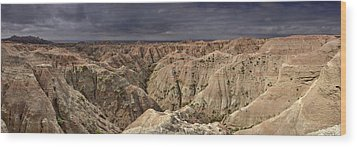 Dark Panorama Over The South Dakota Badlands Wood Print by Sebastien Coursol