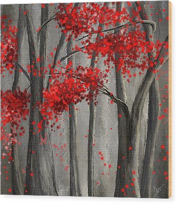 Dark Passion- Red And Gray Art Wood Print