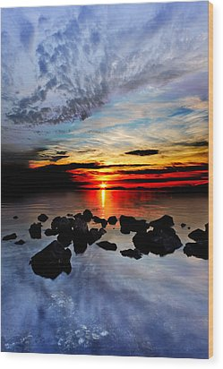 Wood Print featuring the photograph Dark Red Sunset Reflection Transparent Blue Sea Black Clouds Art by Eszra