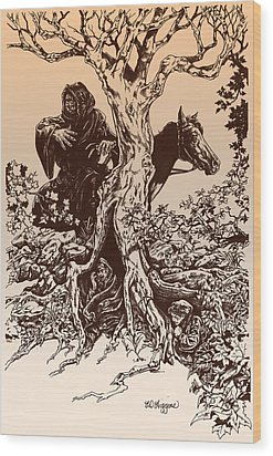 Dark Rider-tolkien Appreciation Wood Print by Derrick Higgins