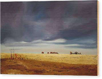 Wood Print featuring the painting Dark Sky by William Renzulli