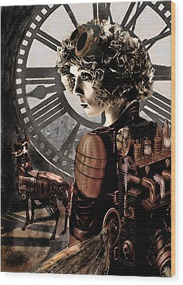 Dark Steampunk Wood Print by Jane Schnetlage