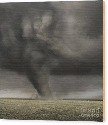 Dark Storm Wood Print by Boon Mee