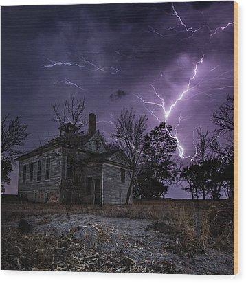 Dark Stormy Place Wood Print by Aaron J Groen