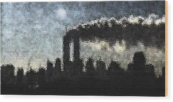 Wood Print featuring the digital art Dark Surreal Silhouette  by James Kosior