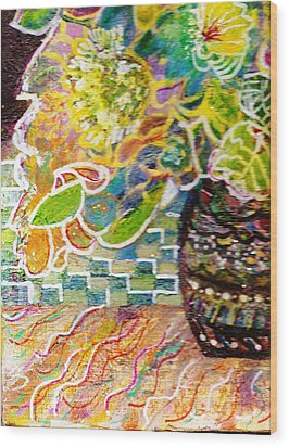 Dark Vase With Flowers On Table Wood Print by Anne-Elizabeth Whiteway