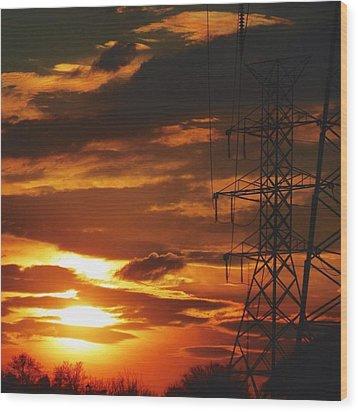 Wood Print featuring the photograph Darkened Sunset by Nikki McInnes