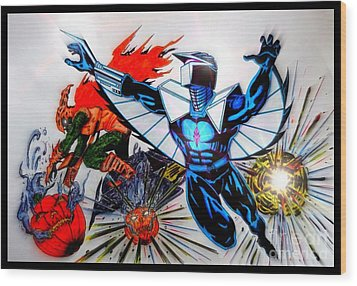 Darkhawk Vs Hobgoblin Focused Wood Print by Justin Moore