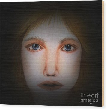 Darkness   Face Art By Saribelle Rodriguez Wood Print