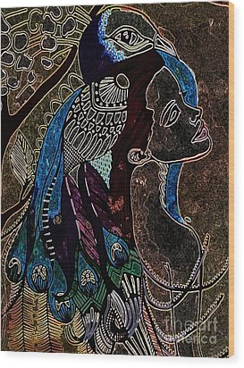 Darkside Peacock Woman Wood Print by Amy Sorrell