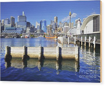 Darling Harbour Sydney Australia Wood Print by Colin and Linda McKie
