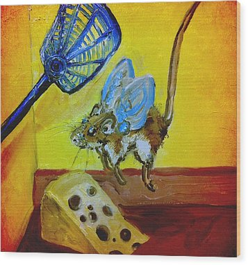Darn Mouse Flies On Swiss Wood Print by Alexandria Weaselwise Busen
