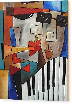 Darned Tootin - Original Cubist Art By Fidostudio Wood Print by Tom Fedro - Fidostudio