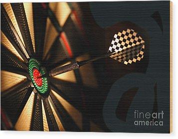 Dart Board In Bar Wood Print by Michal Bednarek