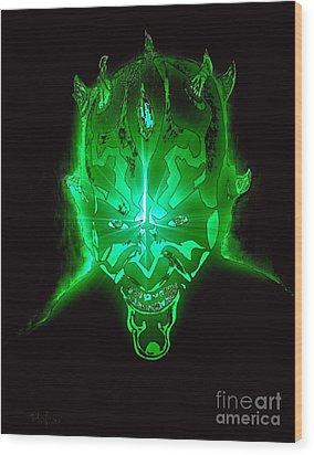 Darth Maul Green Glow Wood Print by Saundra Myles
