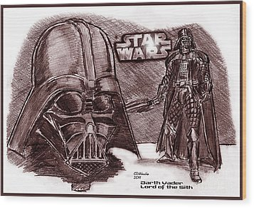 Darth Vader Lord Of The Sith Wood Print by Chris  DelVecchio