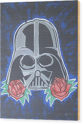 Darth Vader Tattoo Art Wood Print by Gary Niles