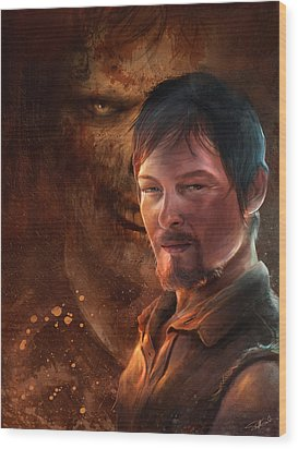 Wood Print featuring the digital art Daryl by Steve Goad