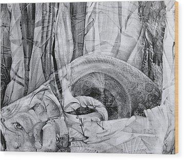 Wood Print featuring the drawing Das Monster Hat Sich Im Ungebuegelten Hintergrund Versteckt by Otto Rapp