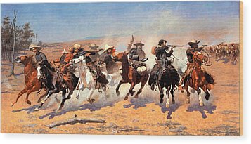 Dash For The Timber Wood Print by Frederic Remington