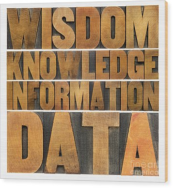 Wood Print featuring the photograph Data Information Knowledge And Wisdom by Marek Uliasz