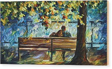 Date On The Bench Wood Print by Leonid Afremov